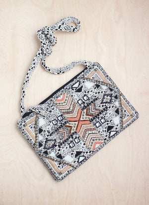 crossbody, India, sequins, aztec, peach and gray, boho, bali queen, coco rose