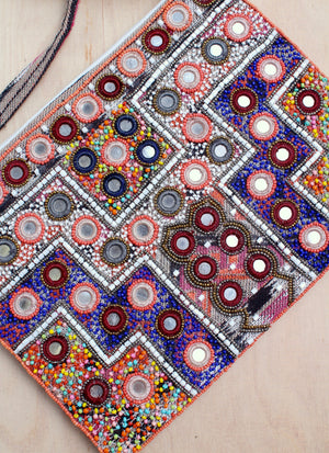 crossbody, India, sequins, aztec, orange, purple, beads mirrors, boho, bali queen, coco rose
