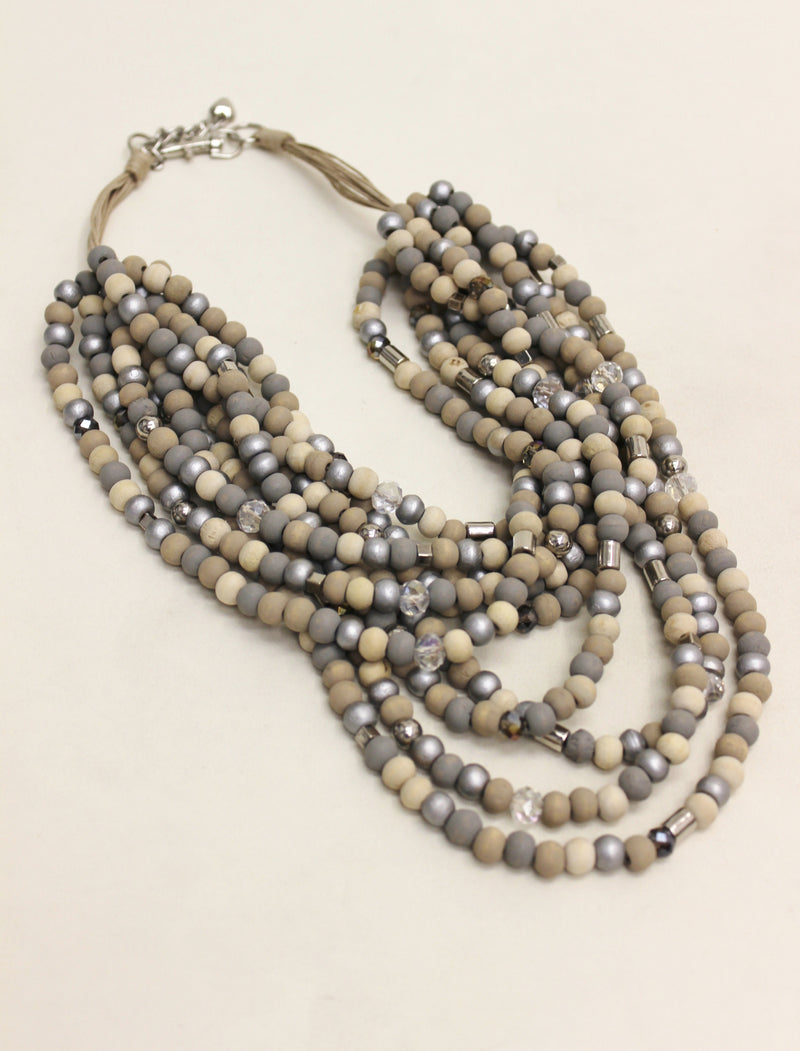 wood beads, silver, fashion jewelry, multi strand, wood jewelry