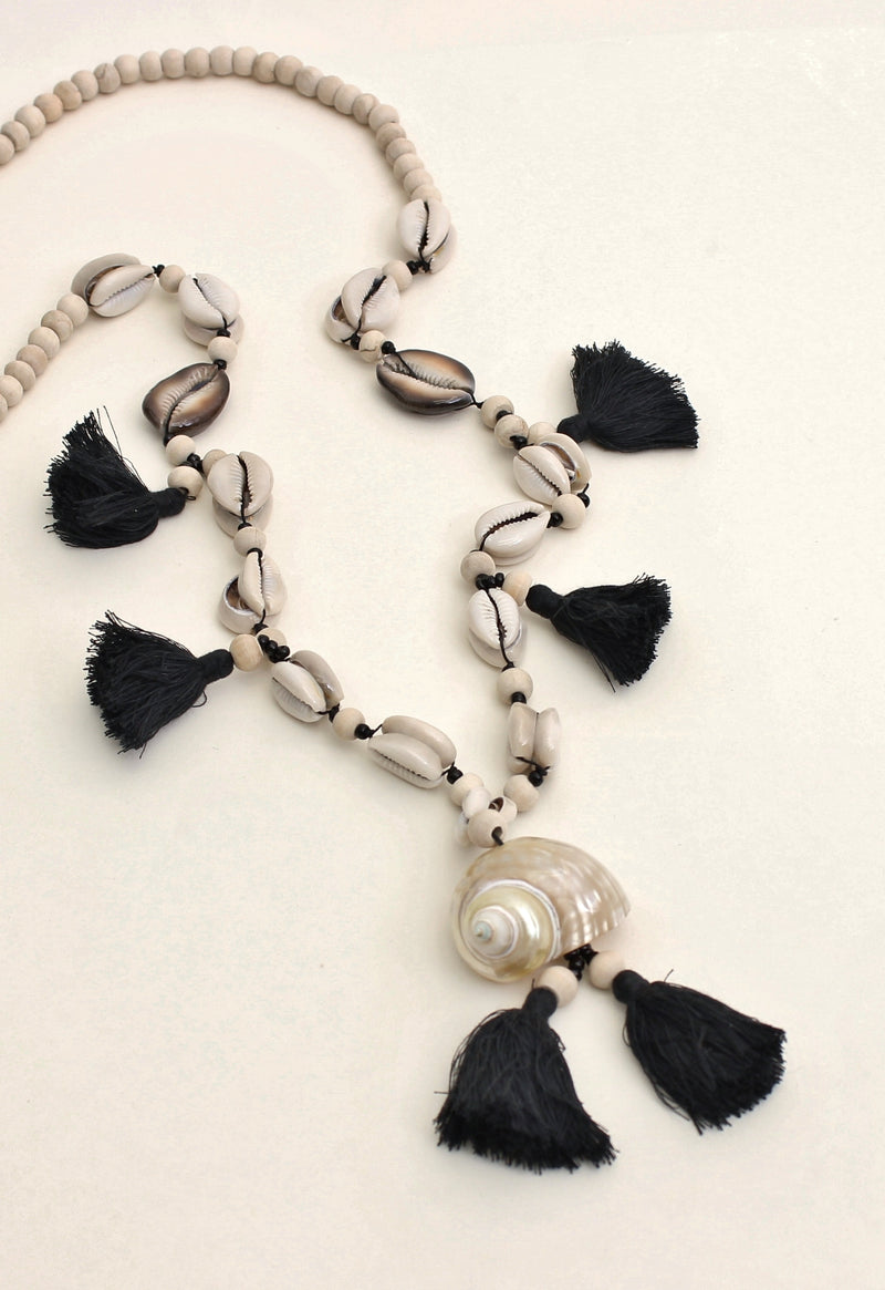 Cowrie Shell and Tassel Necklace With Wood Beads