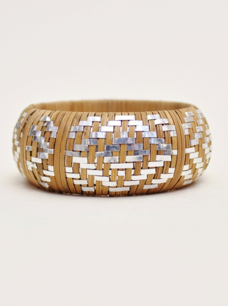 Silver Accent Wicker Bangle