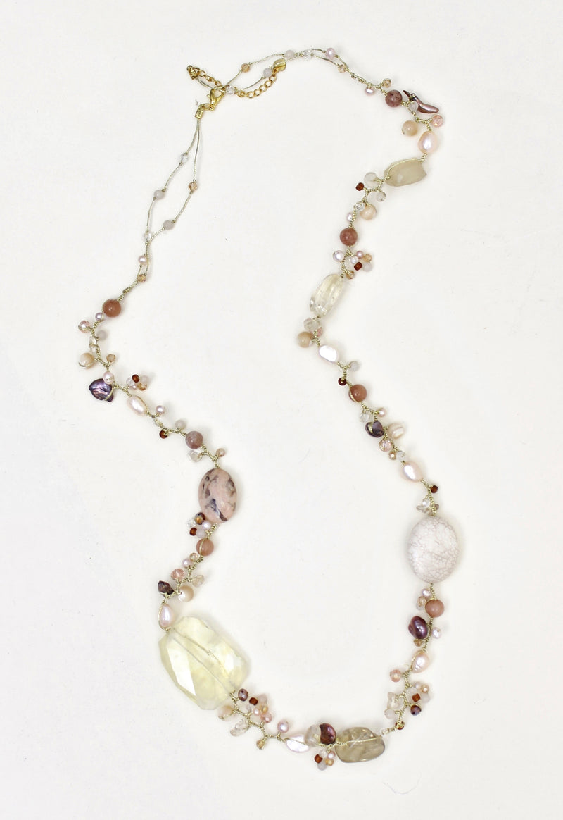 pearl necklace, Crystal Necklace, Coco rose, Freshwater Pearl