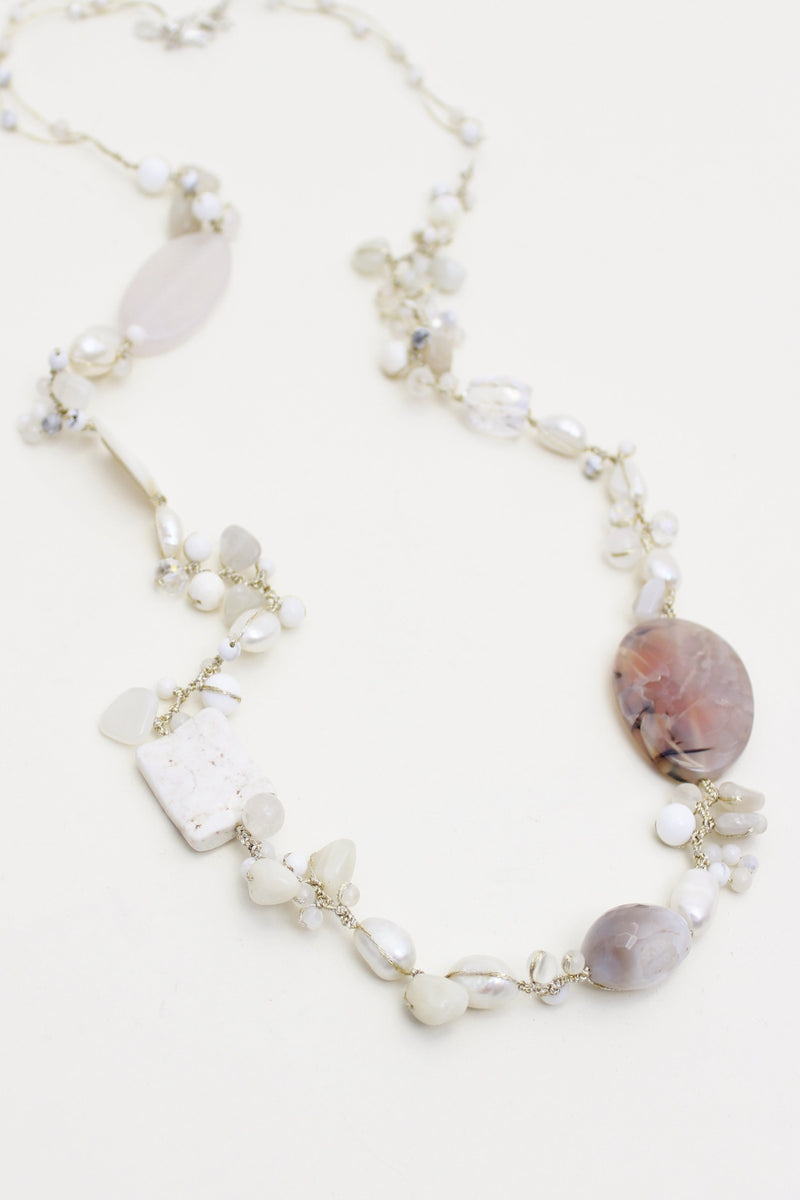 Fairy Pearl, Stone and Crystal Necklace