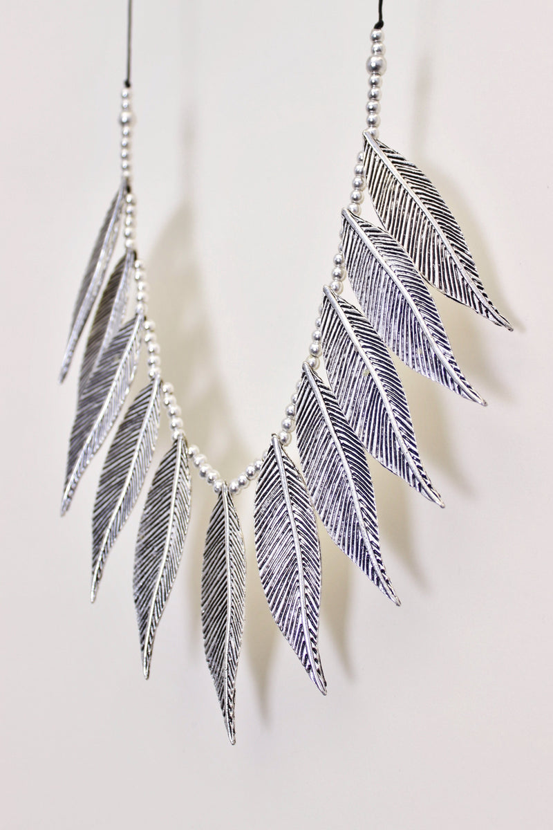 Silver Feather Adjustable Necklace