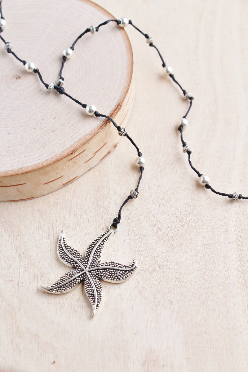 starfish necklace, silver starfish, baliqueen, starfish, bali queen, alloy, bali queen, coco rose, silver, rhodium, hypoallergenic, tribal jewelry