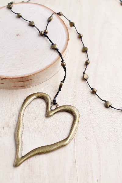 antique bronze heart, heart necklace, bronze heart, open hammered heart, heart, artisian, bali queen alloy, bali queen, coco rose, silver, rhodium, hypoallergenic, tribal jewelry, open heart, heart necklace
