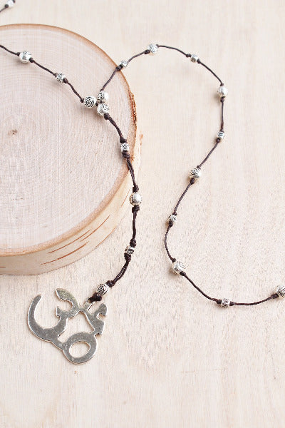 silver ohm necklace, om necklace, bali queen, alloy, hypoallergenic, rhodium