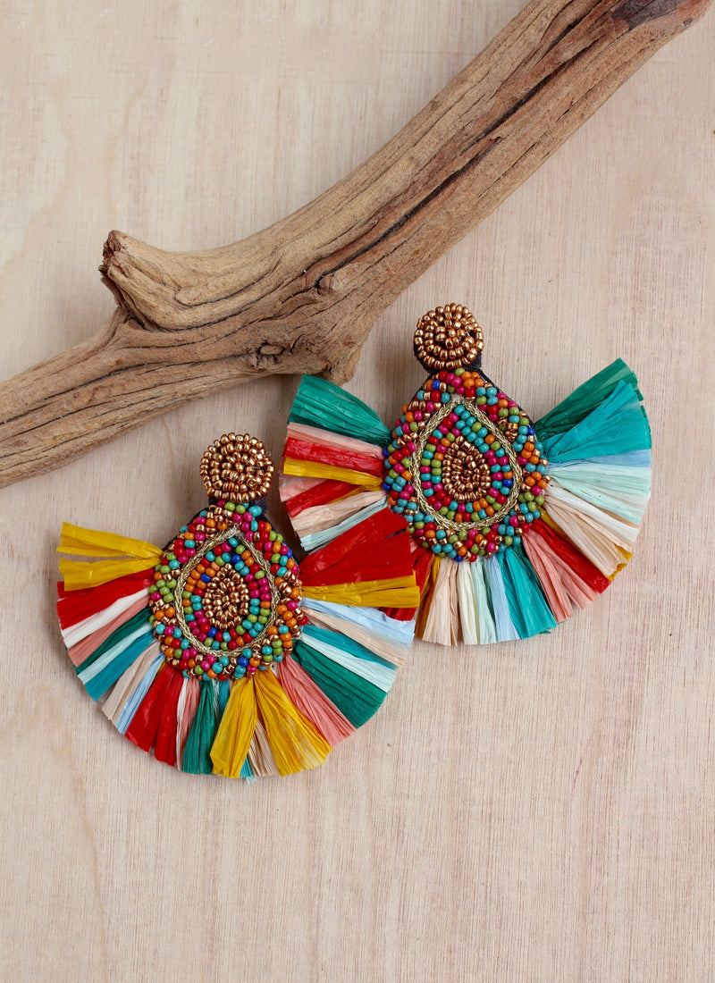 Fan earrings, raffia, boho earrings, summer style, bali queen, coco rose