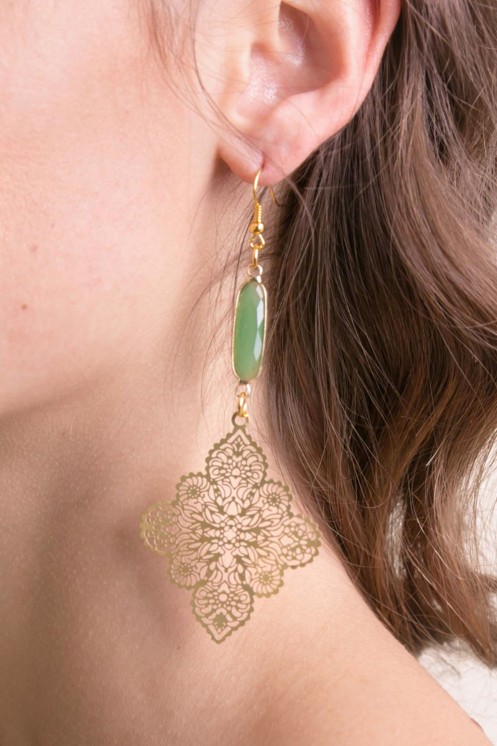 Gold Sea Glass Earring