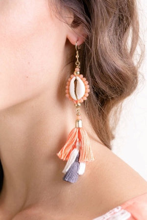 cowry shells, shell jewelry, shell earrings, tassel earrings, boho, resort life, bali queen, coco rose