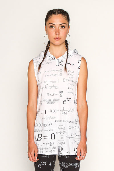 Women's Equations Print Sleeveless Hoodie