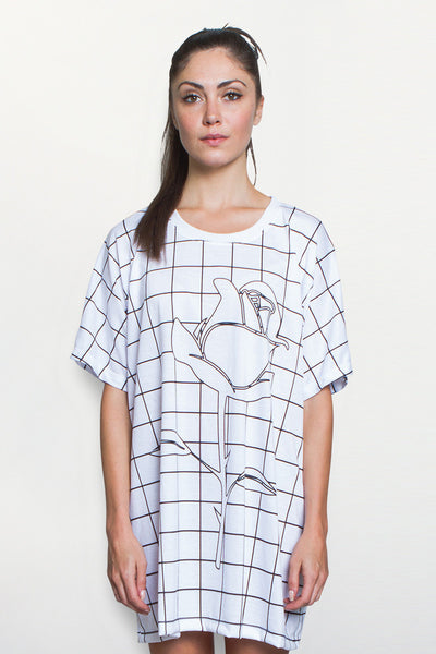 Women's Grid Print Oversized Tee