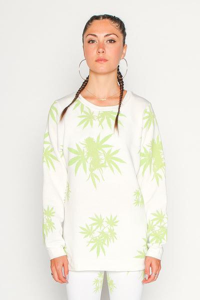 Women's Marijauna Print Long Sleeve Tee