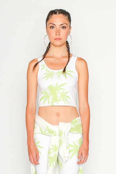 Marijauna Print Crop Top