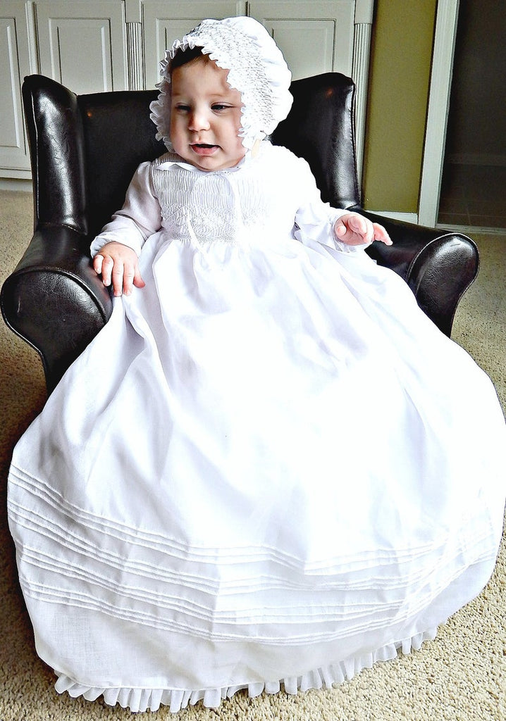 Christening Gown Long Sleeves  Baptism Dress Gown White or  Ivory with  Bonnet Free Personalization
