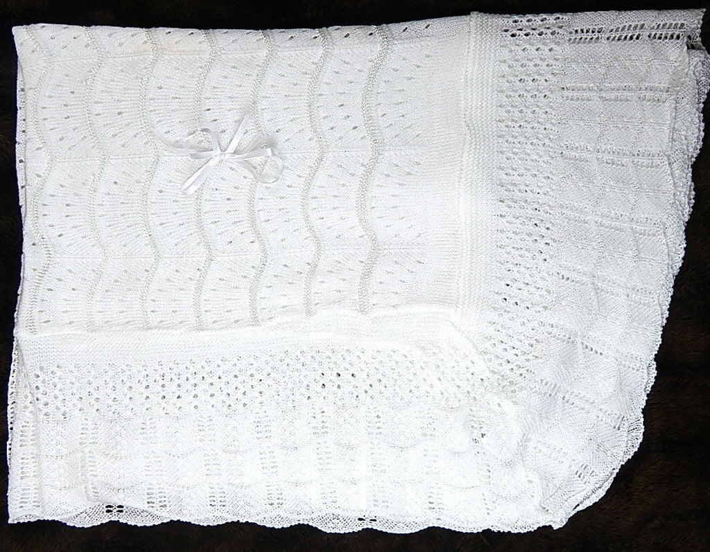 White / Ivory Christening Blanket -  Baptism Blanket - Blessing Blanket - Dediction Blanket -  Take Home Baby  BLanket - Shawl baby White or Ivory