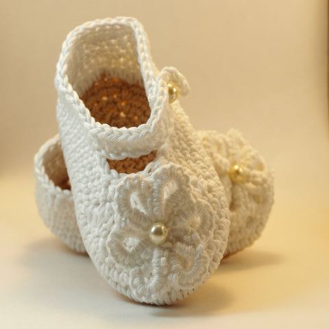White or Ivory Shoes Baby Girl Crochet , Christening Shoes, Baptism  Blessing shoes, Baby Shoes