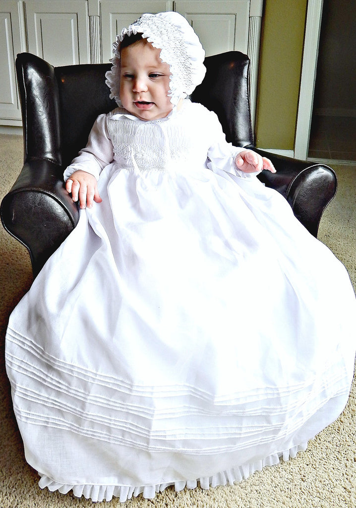 Baby Girl Christening Gown Long Sleeves,  Baptism Gown Handcrafted Heirloom Gown Hand Made  Personalized Long Sleeves