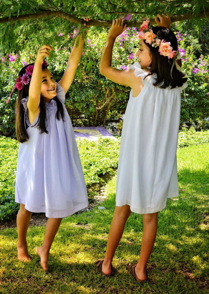 Flower Girl Dress Cotton Fabric, Matching Sister Dresses,  Smocked Dress, White, Ivory, Lavander, Light Blue, Pink, Pageant Dress, HAND MADE