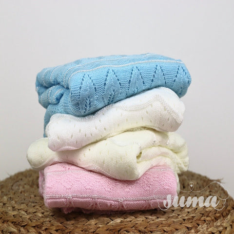Knitted Baby Blanket, Baby Shower, Newborn Gift, Nursery Blanket, Cozy, Gift for New Mom, White, Ivory, Pink , Blue 40