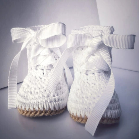 Baby Boy  Botties Shoes Crochet, Baptism Shoes, Christening Shoes, Ivory and White