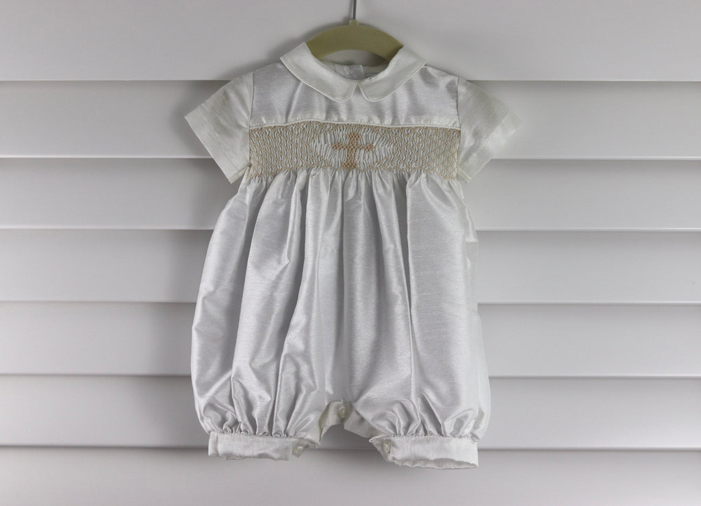 SUMA Baby Boy Christening Outfit Romper Ivory Hat Set Smocked Cross on Chest
