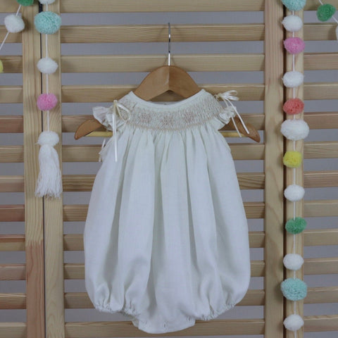Ivory Baby Girl Bubble Romper, Toddler Girl Romper, Baby Girls Smocked Bubble Romper,  Hand Made Bubble Romper