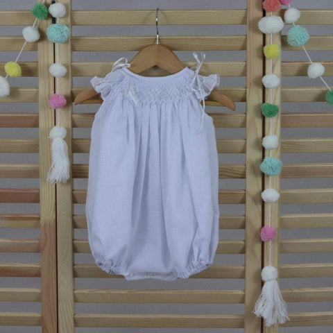 White Cotton baby girls smocked bubble romper, 100% cotton
