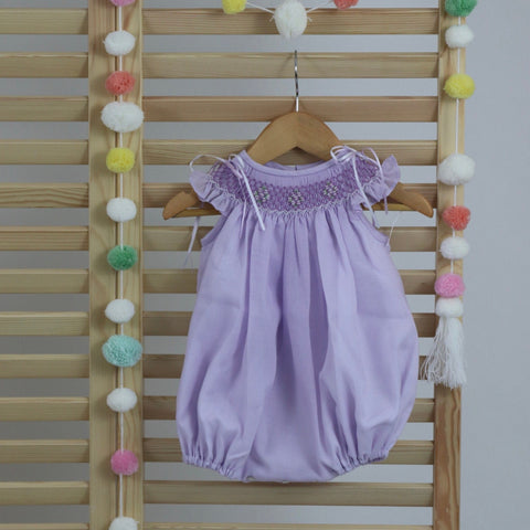 Lignt Lavender Lilac Cotton baby girls smocked bubble romper, hand made