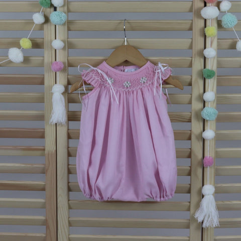 Baby Girl Bubble Romper, Lignt Pink Cotton Baby Girls Smocked Bubble Romper, Hand Made