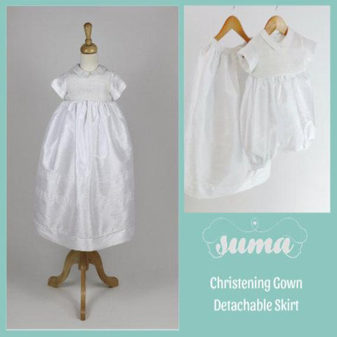 Baby Boy  Christening Gown  with Detachable Skirt,  Baptism, Blessing  Outfit White Shantung Fabric Free Personalization