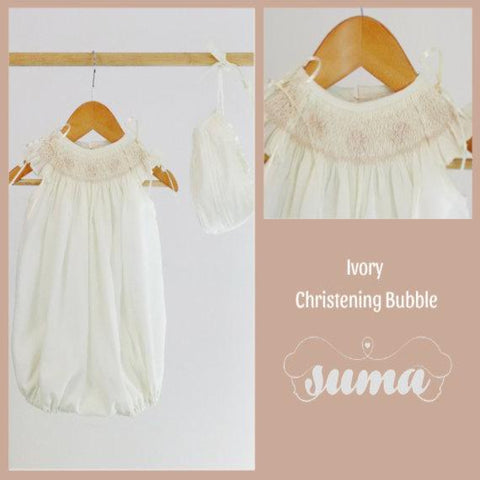 Ivory Bubble Christening Baptism Romper Baptismal Outfit