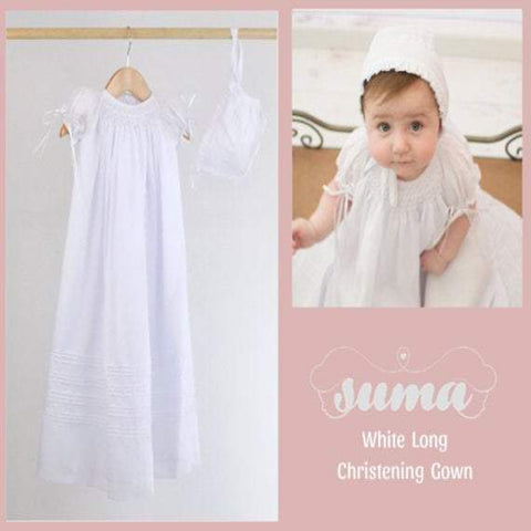 Long Christening Gown Girls, Baptism Gown,  White Cotton, Christening Dress , Blessing outfit,  Hand Smocked, Free Personalization
