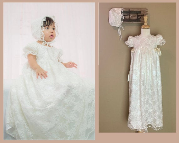 Lace Christening Gown, Baptism dress, Girls Christening Gown set Free  Personalization