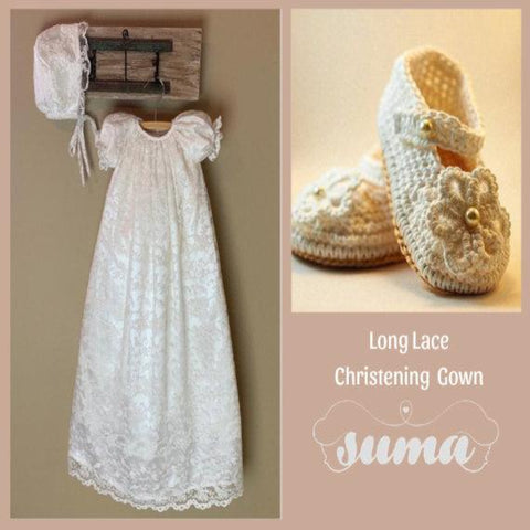 Lace Baptism Gown | Lace Christening Gowns Girls | Baptismal & Blessing Gowns |  White -  Lace Blessing Gown | Free Personalization