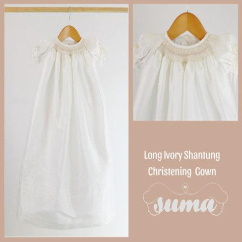 Long Ivory Christening Gown Girl  Shantung  Christening dress Blessing dress Baptism Gown Dedication Dress  Baby Gowns  Free Personalization