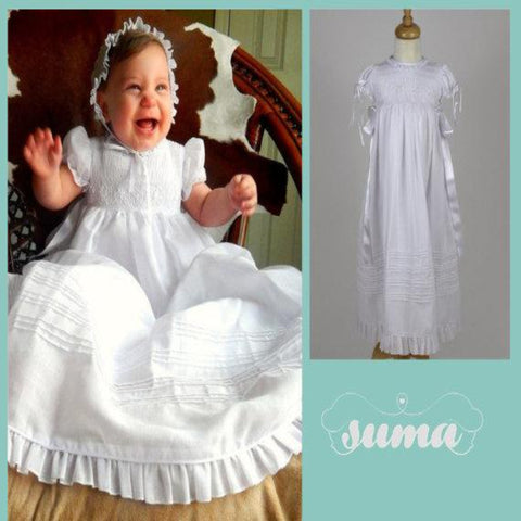 Christening Gown Girls Baptism Gowns Blessing Dresses with hat/bonnet  size 3, 6, 12, 24M #christeninggowns free Personalization