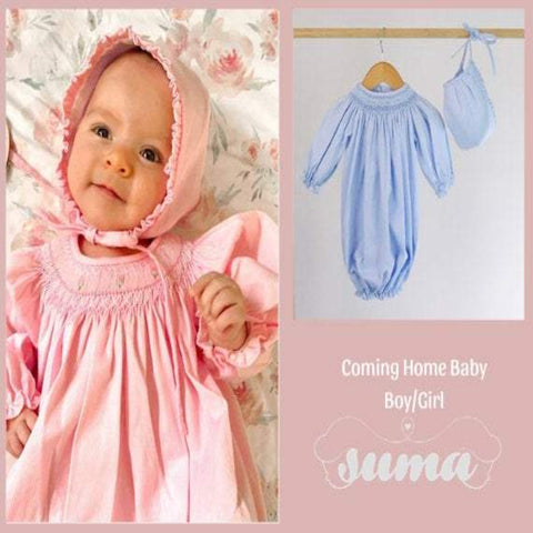 Coming Home  Baby Girl / Boy Gown,  Smocked Newborn Outfit, Baby Shower Gift, Coming Home  Baby Hospital Outfit First Photoshoot Outfit Baby