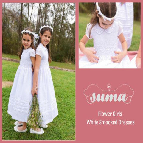 Flower Girl Dress, White Smocked Girl Dresses,  Cotton Fabric  Completely lining, add petticoat and Headpiece