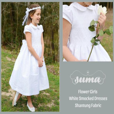 White Shantung Flower Girl Dresses, White Shantung Smocked Dresses add Petticoat and Headpiece