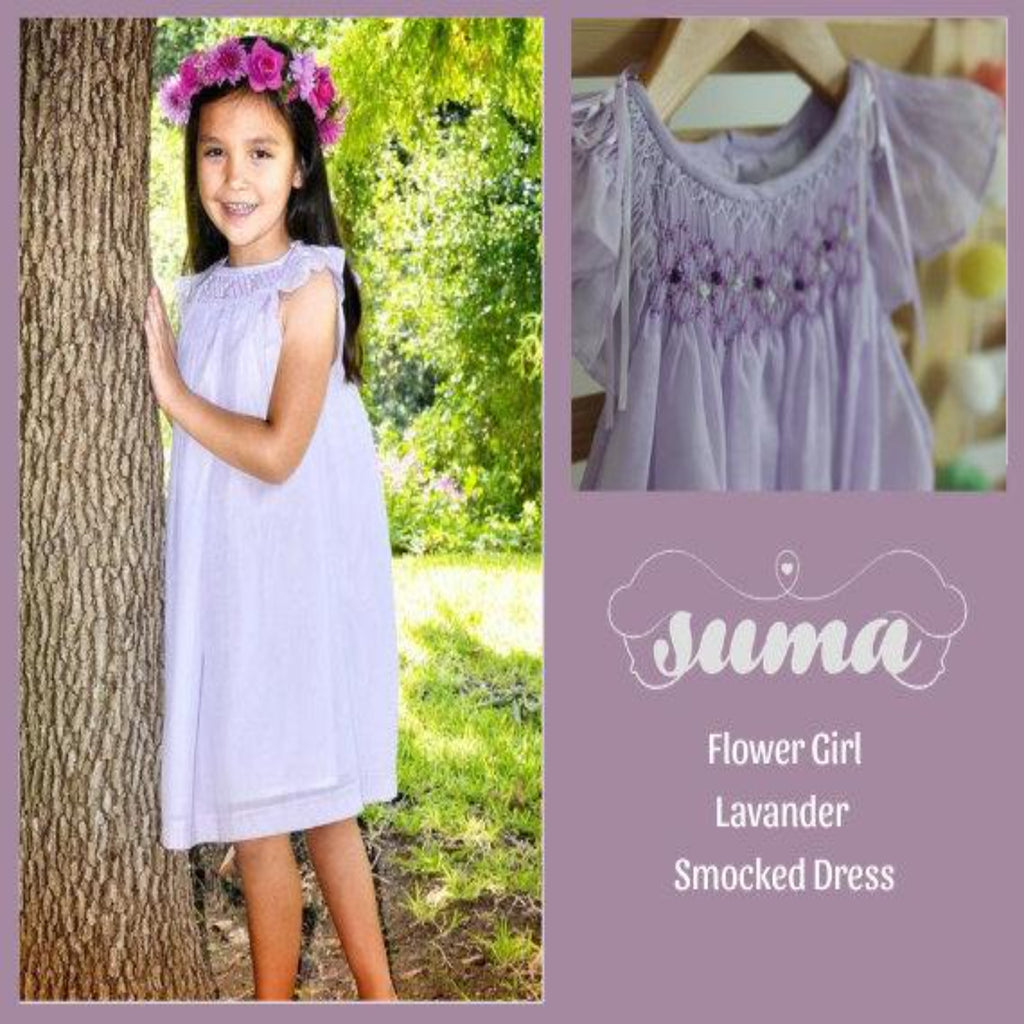 Flower Girl Dress Lavender Cotton Fabric Hand Smocked