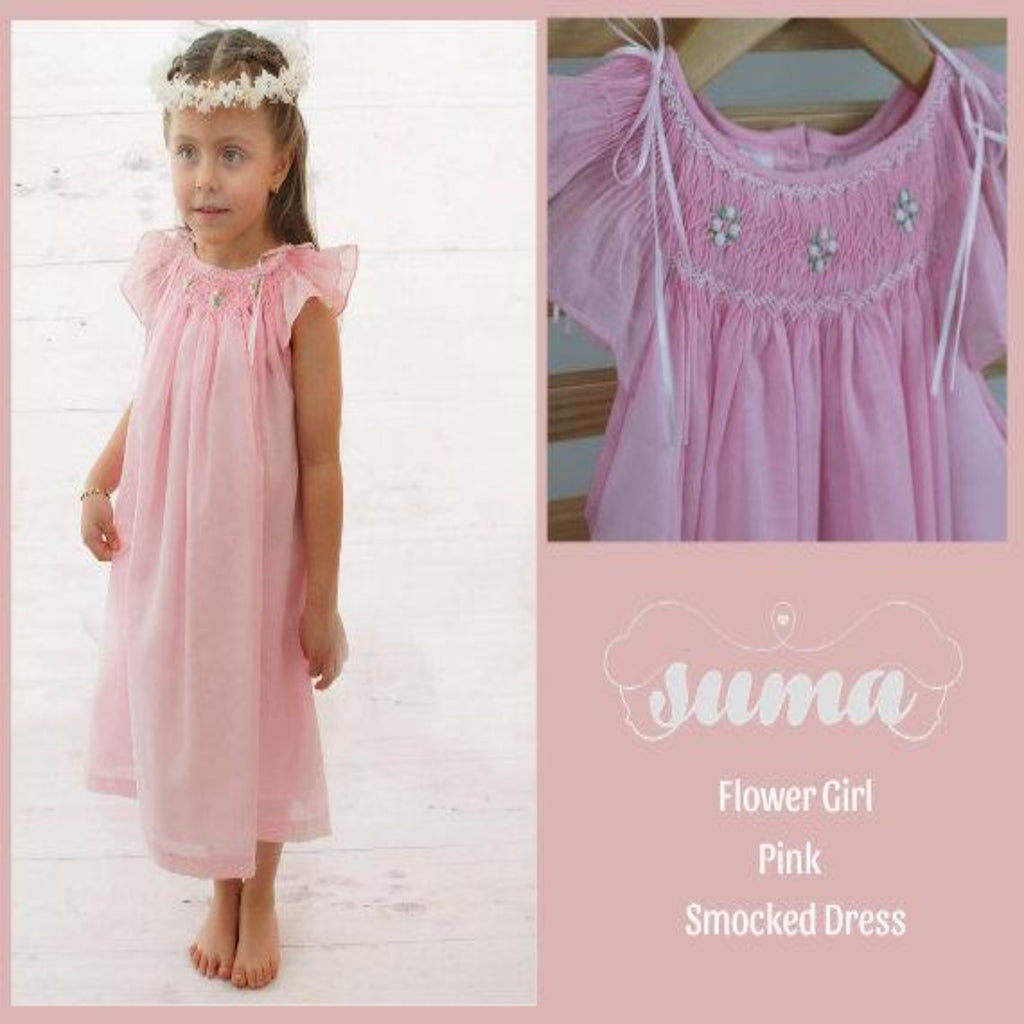Flower Girl Pastel Pink Matching Sister Dresses, Bishop Dresses, Smocked dresses, Baby dresses, Girl Dresses,  Pink Smocked Dresses