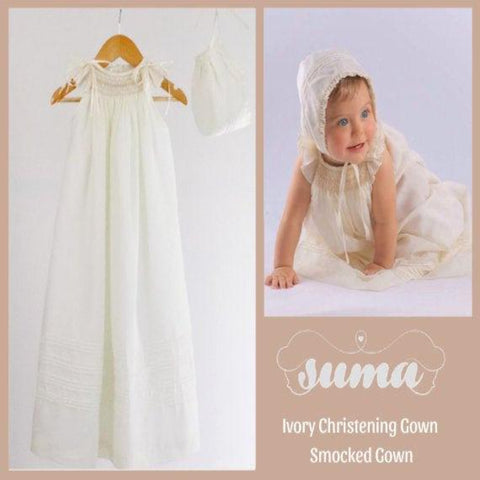 Long  Christening Gown Baby Girl,  Cotton Ivory or White , Long Baptism Gown,  Blessing Dress,  Hand Smocked  Free Personalization