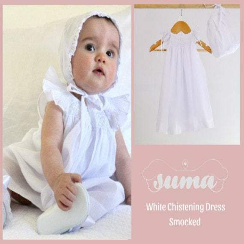 Baby Girl Christening Dress,  Baptism Dress with Bonnet, Blessing Dress,  Gown  White Cotton, Hand  Made, Free Personalization
