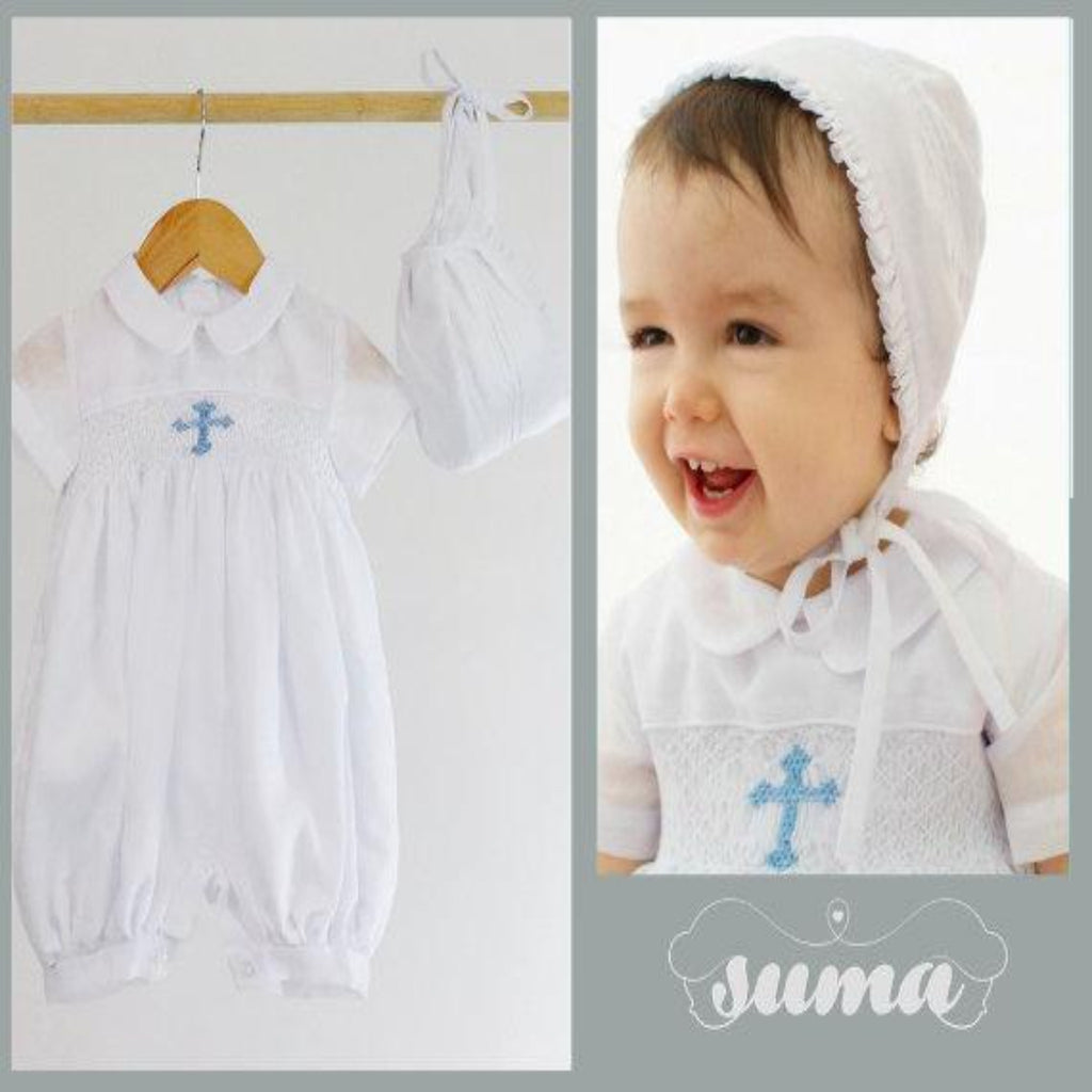 Boys Christening Outfit Romper | Boys white Cotton  Baptism Suit | white Christening & Blessing Outfit for Boys | Baby Boys Baptism Outfit