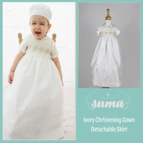 Baby Boy Christening Gown Romper with Detachable Skirt,  Ivory Shantung, Baptism Outfit,  Blessing Boy, Dedication Baby Boy Personalized