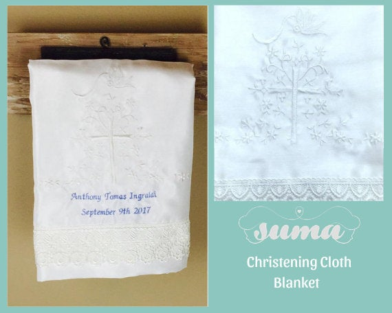 "Suma Christening Cloth Blanket Baptism Baby Sheet, Handkerchief Personalized Girls or Boys , White or Ivory 38"" x 28"" Shantung Fabric"