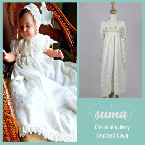 Long Christening Gown Girl, Baptism Dress, Bleesing outfit Cotton,  Ivory /White,  lined,  with Bonnet,   Free Personalization