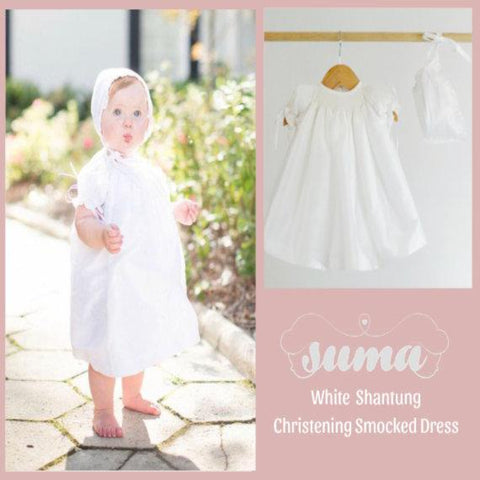 Baby Girl White Smocked Dress, Christening Dress , Baptism Dresses,  Add Bonnet, Blommers and shoes  Shantung Fabric, Free Personalization