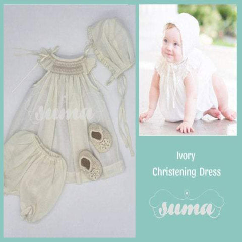 Baby Girl Ivory Bishop Smocked Dress, Christening Baptism Dress Ivory cotton with Bonnet , Free Personalization
